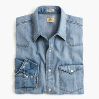 Tall lightweight denim Western shirt