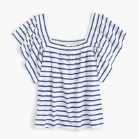 Smocked square-neck top in stripe