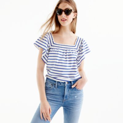 Smocked square-neck top in stripe