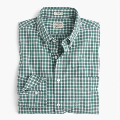 Slim heather poplin shirt in green check