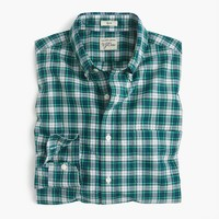 Slim Secret Wash shirt in green and white plaid