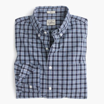 Slim Secret Wash shirt in blue plaid