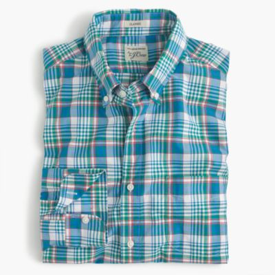 Secret Wash shirt in light blue plaid