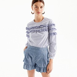 Petite tiered top in mixed stripes