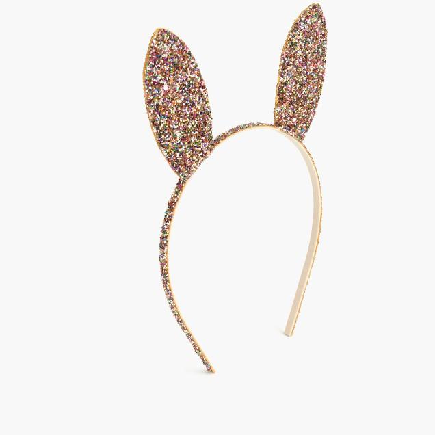 Girls' glitter bunny ear headband