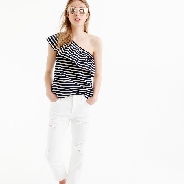 One-shoulder top in stripes