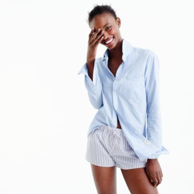 Shirting stripe pajama shorts