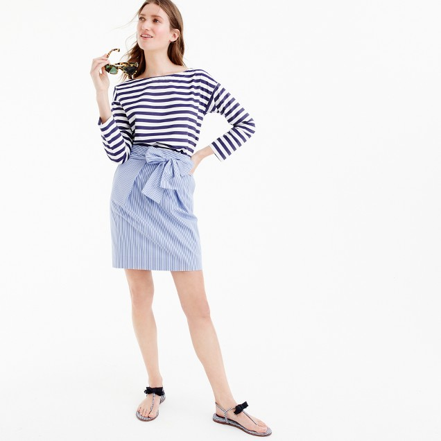 Tall wrap-around tie skirt in shirting stripes