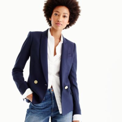 Petite double-breasted blazer in Italian wool