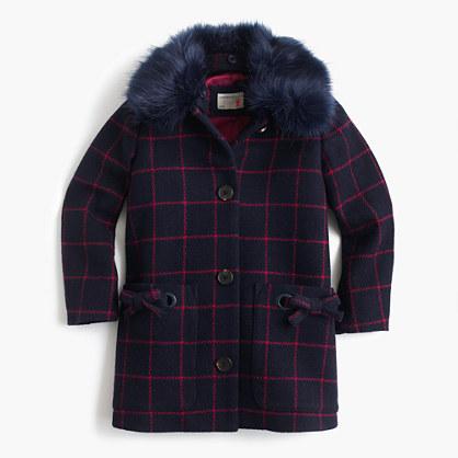 GIrls' wool coat in windowpane