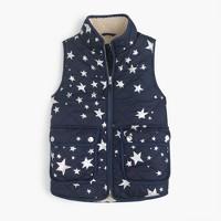 Girls' star-print puffer vest