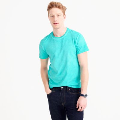 Distressed garment-dyed T-shirt in cotton