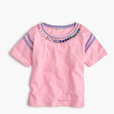 Girls' striped gem necklace T-shirt