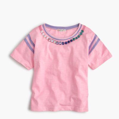 Girls' striped gem necklace T-shirt