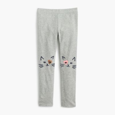 Girls' everyday leggings with kitten knees