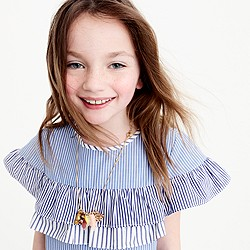 Girls' ruffle-tiered top in mixed stripes