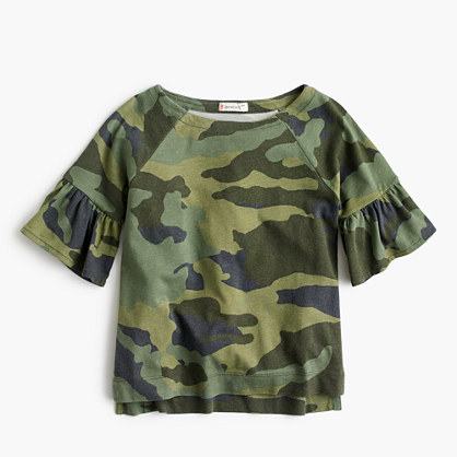 Girls' ruffle sleeve camo T-shirt