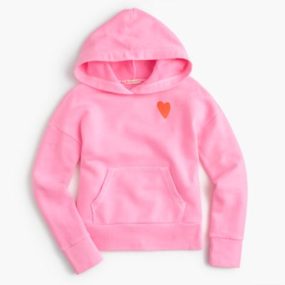 Girls' heart embroidered hoodie