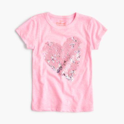 Girls' sequin heart T-shirt