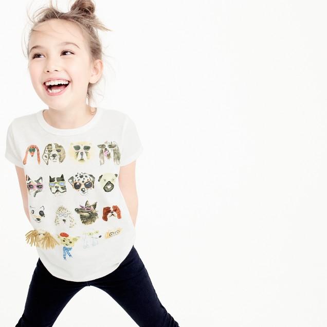Kids' illustrated dog T-shirt