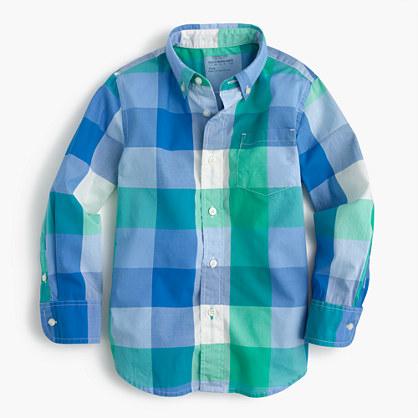 Kids' Secret Wash shirt in oversized gingham