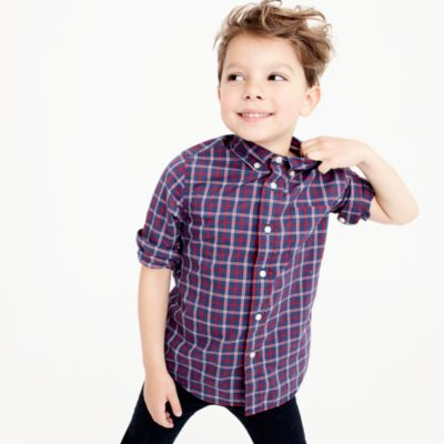 Kids' Secret Wash shirt in double plaid