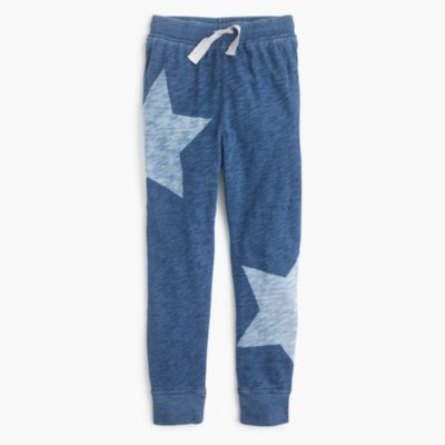 Girls' star-print slim drawstring pants