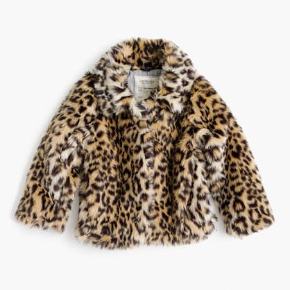 Girls' leopard-fur coat
