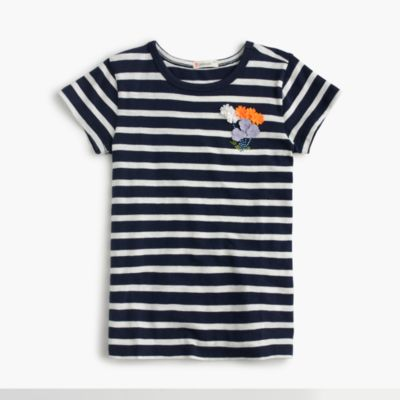 Girls' striped flower T-shirt