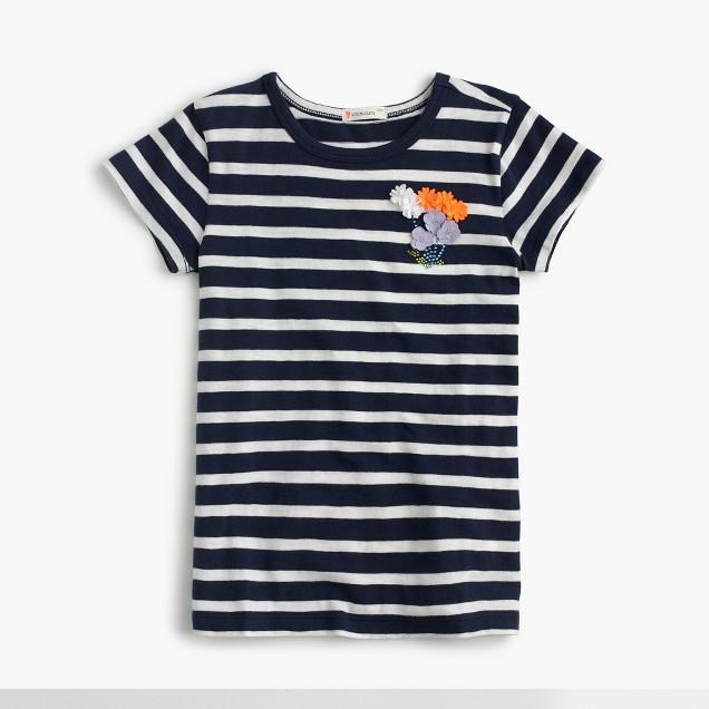 Girls' striped flower T-shirt