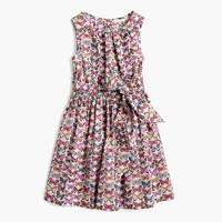 Girls' tie-waist dress in butterfly print