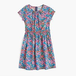 Girls' elastic-waist dress in garden floral