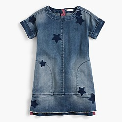 Girls'  denim dress in star print