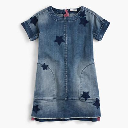 Girls' denim dress in star print