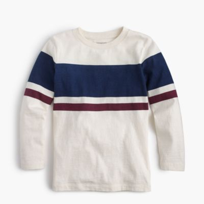 Boys' long-sleeve double-striped slub T-shirt