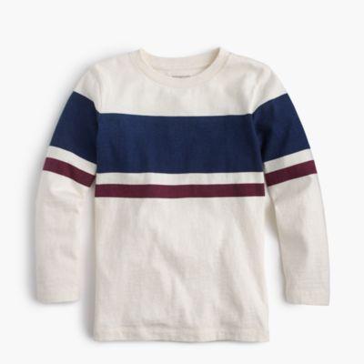 Boys' long-sleeve double-striped slub T-shirt