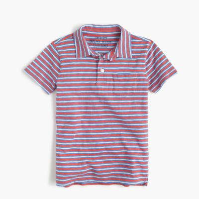 Boys' striped pocket polo shirt