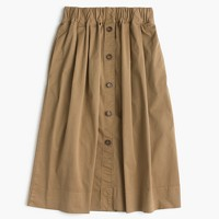 Button-front chino skirt