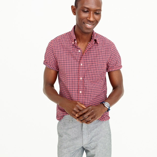 Short-sleeve shirt in red check