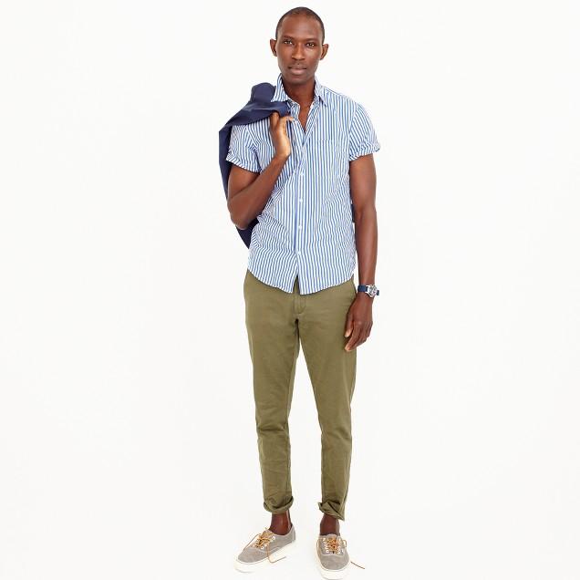 Short-sleeve shirt in blue stripe