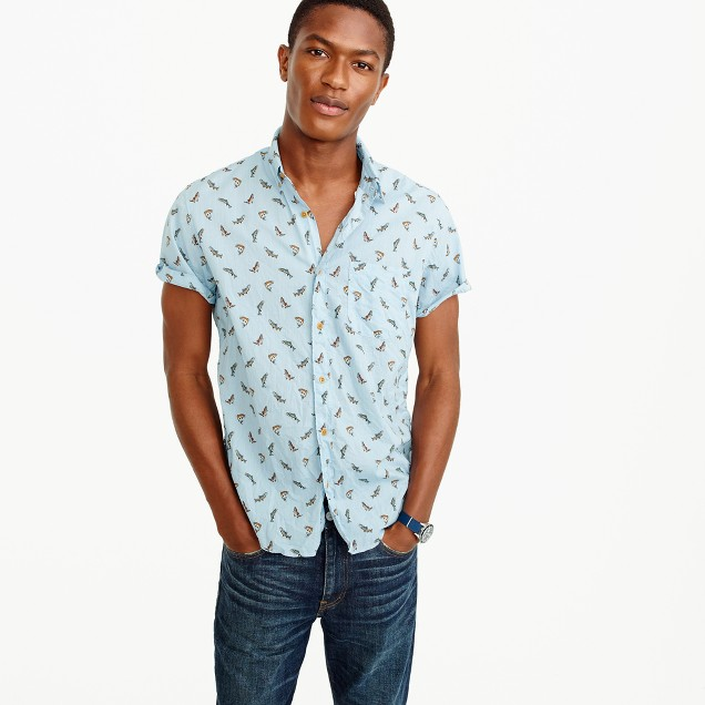 Short-sleeve shirt in trout print