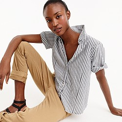 Petite striped short-sleeve button-up shirt