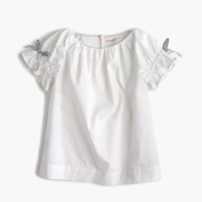 Girls' gathered-sleeve top
