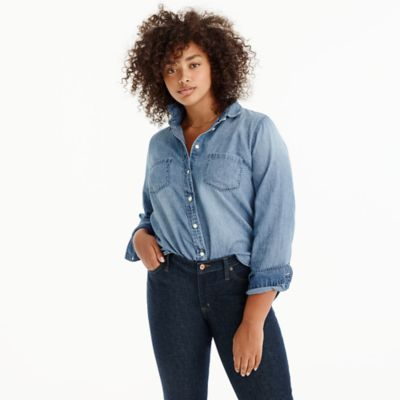 Petite everyday chambray shirt