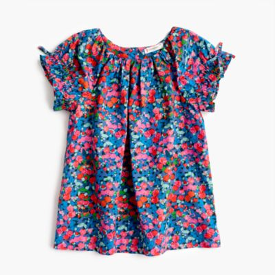 Girls' gathered-sleeve top in garden floral