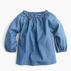 Girls' smocked-neck top in chambray