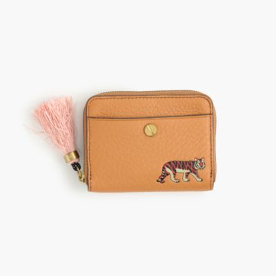 Card case in embossed animal print