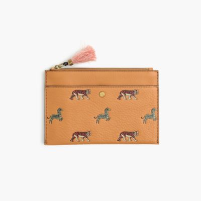 Medium pouch in embossed animal print