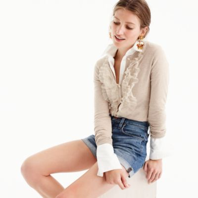 Cotton Jackie cardigan sweater with tulle
