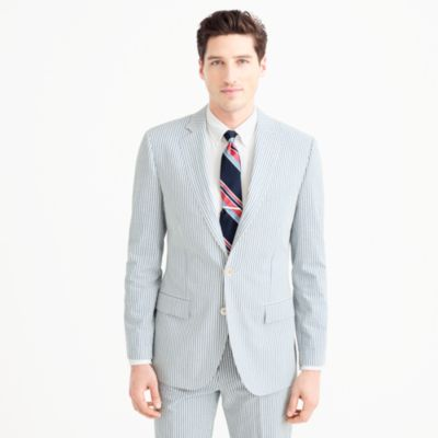 Ludlow wide-lapel suit jacket in Japanese seersucker